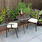 Charles Bentley Cast Aluminium Bistro Set with Beige Cushions