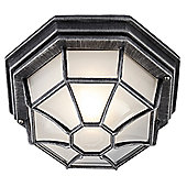 Hexagonal Black/Silver Flush Ceiling Porch Light with Frosted Glass Diffuser