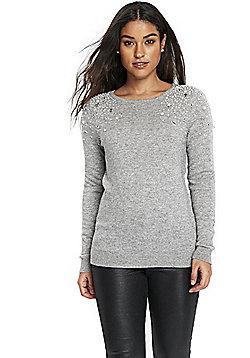 Wallis Embellished Shoulder Jumper - Grey