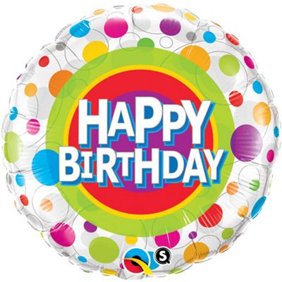 Happy Birthday Colourful Dots Balloon - 18 inch Foil