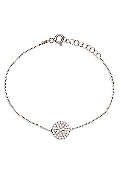 Sterling silver bracelet with pave circle