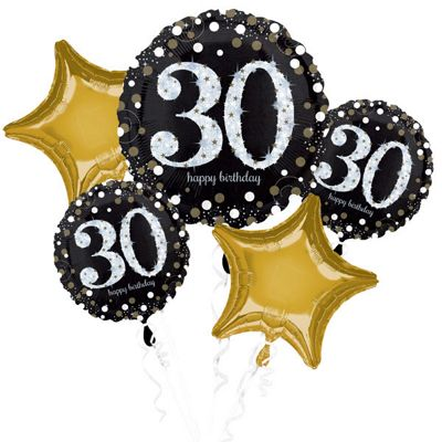 30th Birthday Sparkling Celebration Balloon Bouquet - Assorted Foil