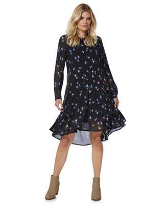 Vero Moda Floral Print Drop Waist Dress Navy S