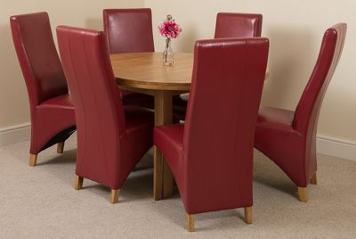 Edmonton Solid Oak Oval Extending 110 - 140 cm Dining Table with 6 Dark Red Lola Leather Dining Chairs