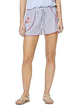 F&F Embroidered Striped Beach Shorts - Blue/White