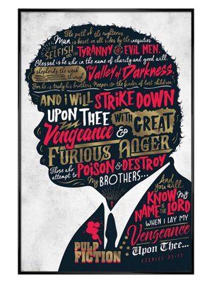 Pulp Fiction Gloss Black Framed Ezekiel 25:17 Poster 61 x 91.5cm