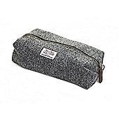 Tweedmill Textiles Harris Premium Tweed Checked Wash Bag Washbag | Herringbone Silver