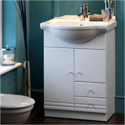 Duchy Treglyn White Floor Standing 2 Door 2 Drawer Vanity Unit and Basin - 600mm Wide x 517mm Deep