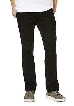 F&F Twill Stretch Straight Leg Trousers with Belt - Black