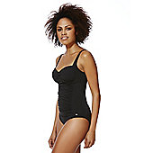 F&F Shaping Swimwear Illusion Ruched Swimsuit - Black