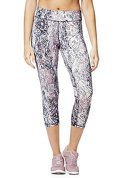 F&F Active Snake Print Mesh Panel Cropped Leggings - Lilac