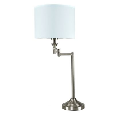 Sinatra Swing Arm Table Lamp - Brushed Chrome & Duck Egg Blue