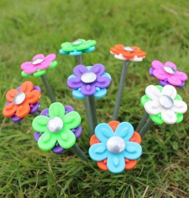 20 x Daisy Pegs - Hard Ground pegs with Interchangable Daisy Heads