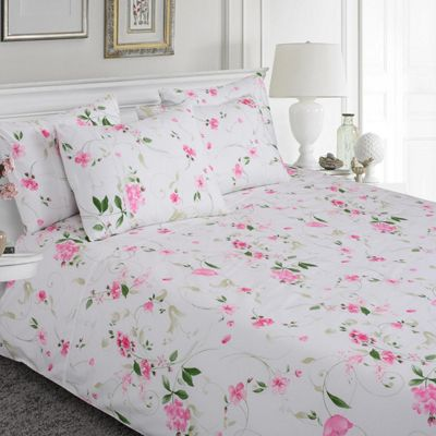 Homescapes Pink, White and Green Spring Floral Pattern 100% Cotton Duvet Cover Set, Double