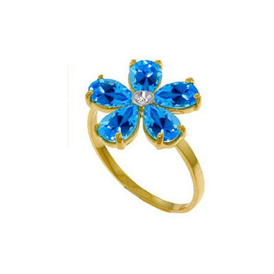 QP Jewellers Diamond & Blue Topaz Foliole Ring in 14K Gold - Size A 1/2