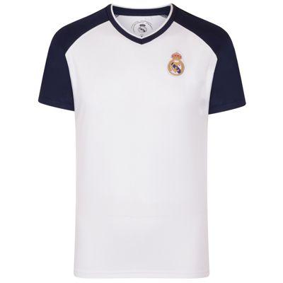 Real Madrid Mens Poly T-Shirt White V Neck XXL