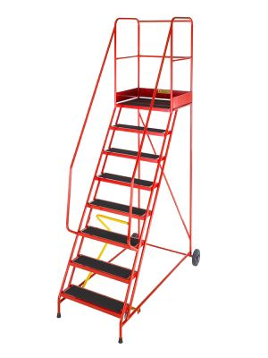 Heavy Duty 8 Tread Steel Warehouse Mobile Step (Punched Tread)