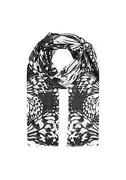 F&F Monochrome Abstract Butterfly Print Scarf - Black & White