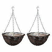 2 x 16-inch Natural Rattan Hanging Basket