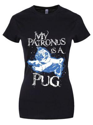 My Patronus Is A Pug Women's T-shirt, Black.