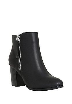 F&F Side Zip Block Heel Ankle Boots - Black