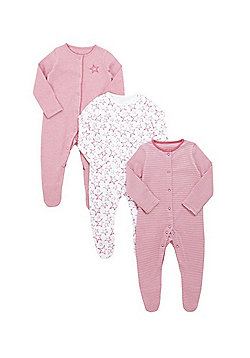 F&F 3 Pack of Striped and Star Print Sleepsuits - Pink