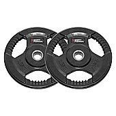 Body Power Rubber Enc Tri Grip Standard (1 Inch) Weight Disc Plates - 2.5Kg (x2)