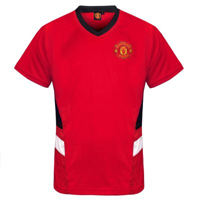 Manchester United FC Mens Poly T-Shirt Red V Neck Small