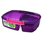 Sistema Triple Split 2L Lunch Box with Yoghurt Pot, Purple