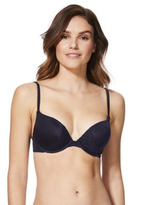F&F Perfect Lace Trim Push-Up Bra Black 34 C cup