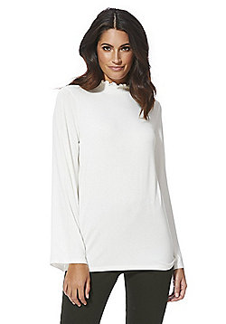 F&F Shirred High Neck Long Sleeve Top - Cream
