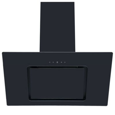 Cookology VER805BK 80cm Black Angled Glass Chimney Cooker Hood | Touch Controls