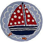 Ship Ahoy, Sailing Boat Rug 90 x 90 cm