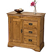 French Chateau Rustic Solid Oak Hi-fi 3 Drawer Media Storage Unit Cabinet Living Room Furniture