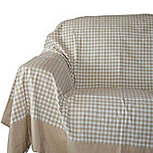 Homescapes Cotton Gingham Check Beige Throw, 225 x 255 cm