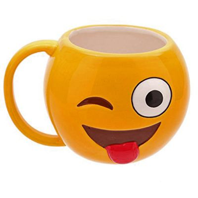Puckator Emotive Shaped Ceramic Mug, Winking, LOL