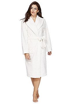 F&F Ripple Texture Stitch Detail Dressing Gown - Cream