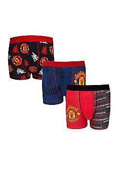 Manchester United FC Boys Boxer Shorts 3 Pack - Multi