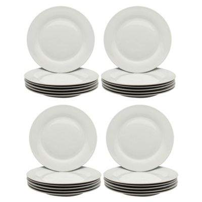 White Wide Rimmed Dinner Plates - 268mm (10.5
