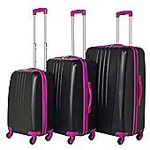Swiss Case Luggage 4 Wheel Spinner Bold 3 Piece Abs Hard Shell Suitcase Set Black/Pink