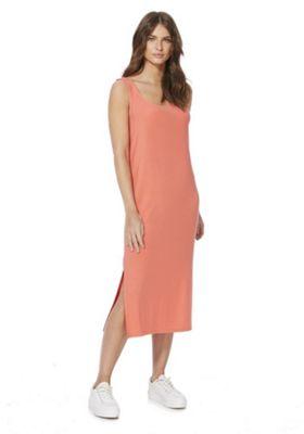 F&F Side Split Jersey Midi Dress Orange 8