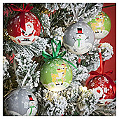 Christmas Character Decoupage Baubles, 14 pack