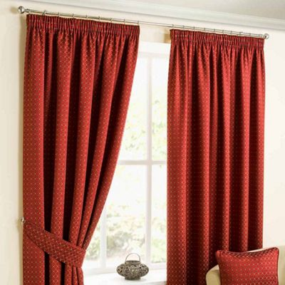 Homescapes Pencil Pleat Deep Red Curtains with Woven Diamond Detail 90x72