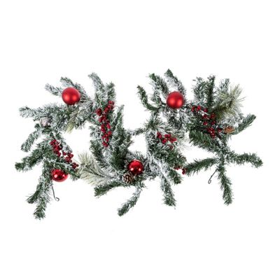 Homescapes Frosted Artificial Christmas Garland with Red Baubles