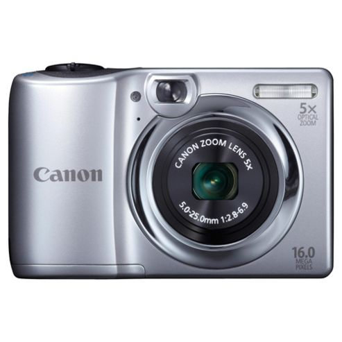 Canon PowerShot A1300 Digital Camera, Silver, 16MP, 5x Optical Zoom, 2.7 inch LCD Screen