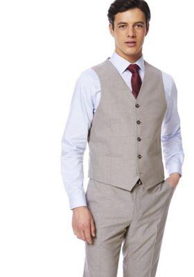 F&F Regular Fit Waistcoat Taupe 48 Chest regular length