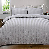 Highams Seersucker Duvet Cover with Pillowcase Bedding Set Silver White Charcoal - Silver