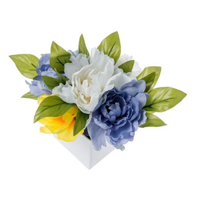 Homescapes Yellow and Blue Peonies Artificial Flowers in Square White Glazed Pot