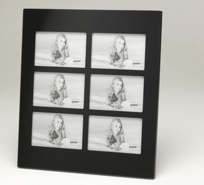 Kenro Black Glass Photo Frame to hold 6 6x4