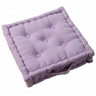 Homescapes Cotton Mauve Floor Cushion, 50 x 50 cm